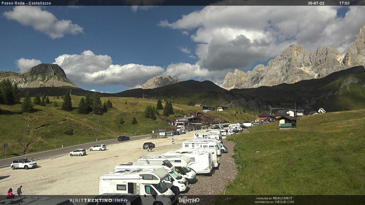 Webcam Strada Passo Rolle - San Martino di Castrozza, Dolomiti Superski