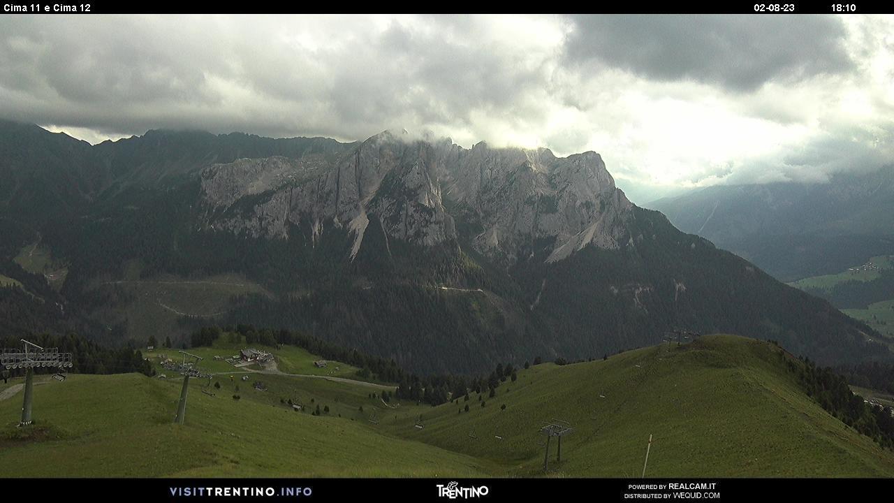 Webcam Panorama su Cima 11 e Cima 12 - Val di Fassa, Dolomiti Superski